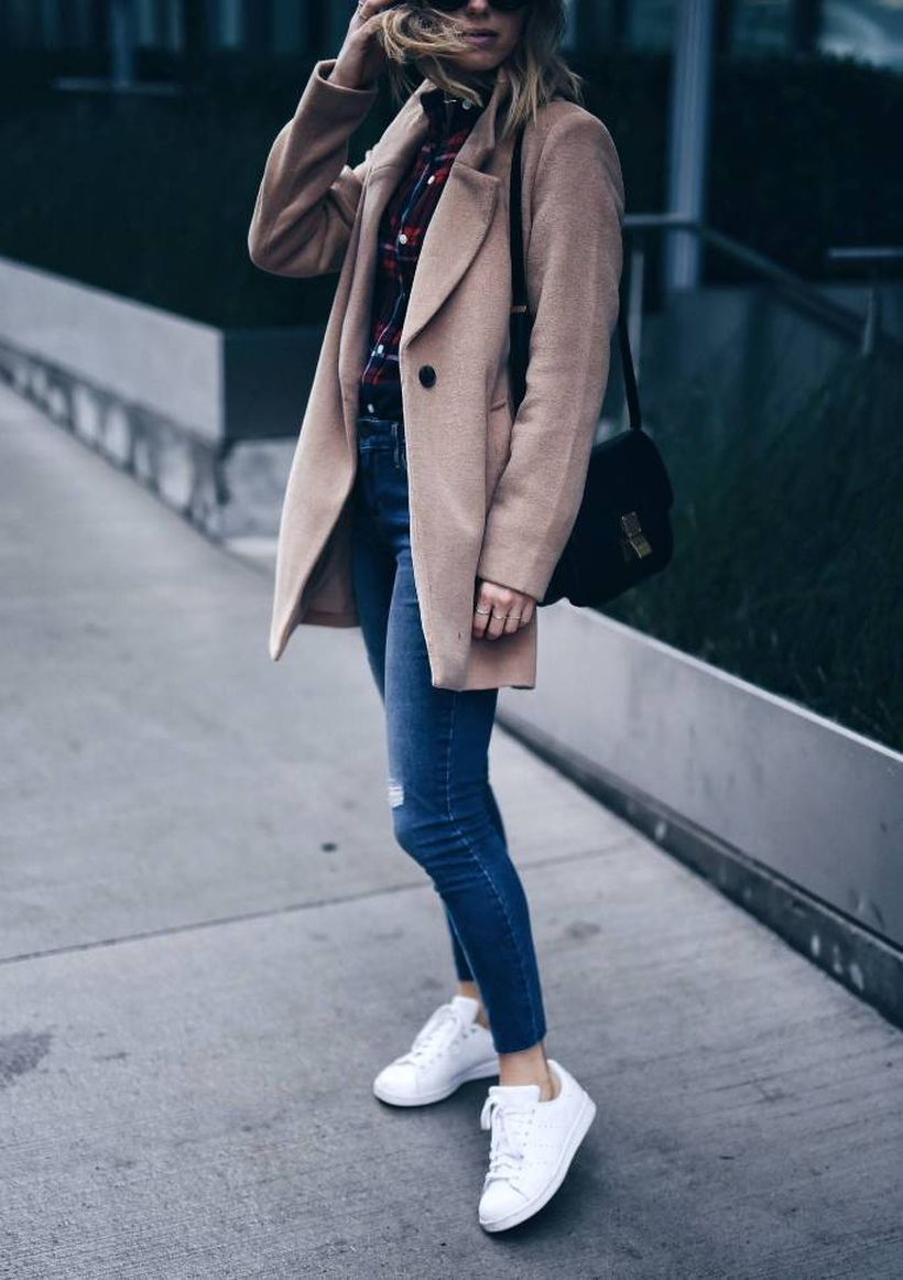 Casual-plaid-shirt-and-camel-coat.-