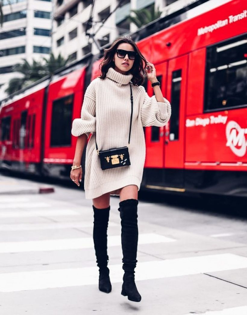 Oversize-sweater-dress-and-over-knee-boots.-