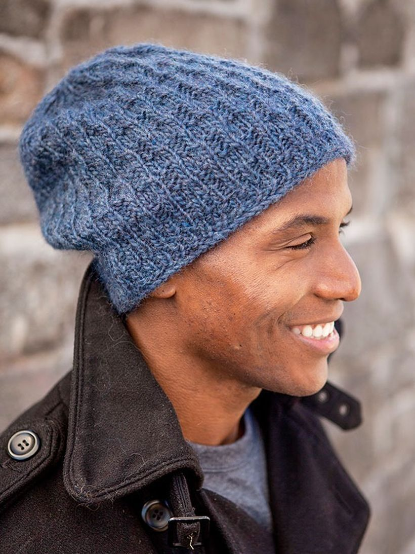 Slouchy men hat with black jacket