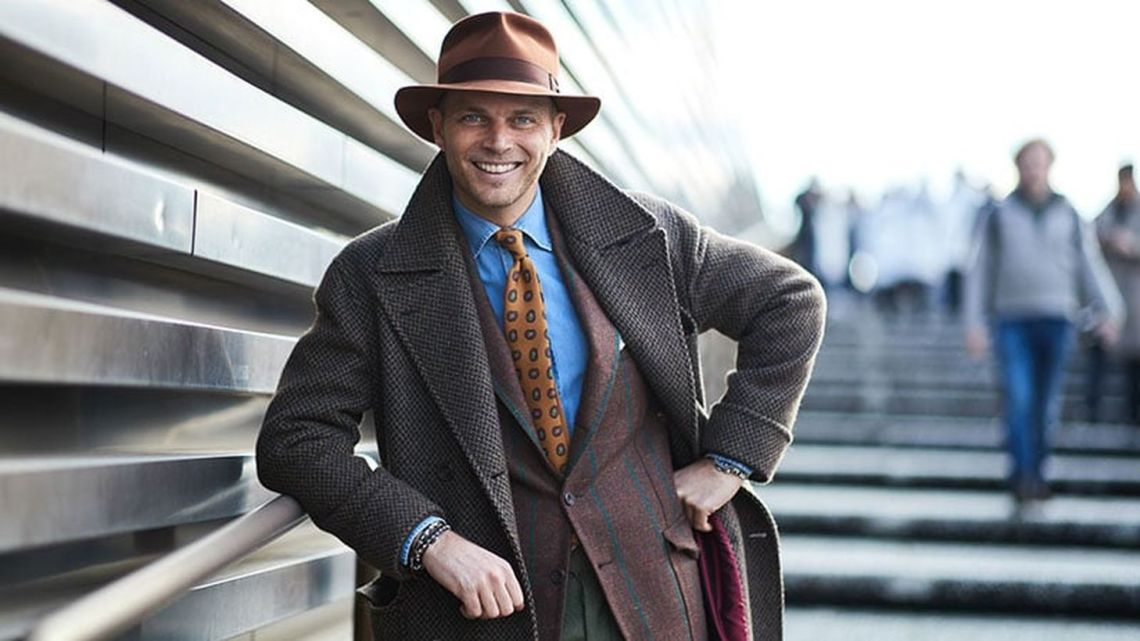 Fedora hat combine with long brown jacket