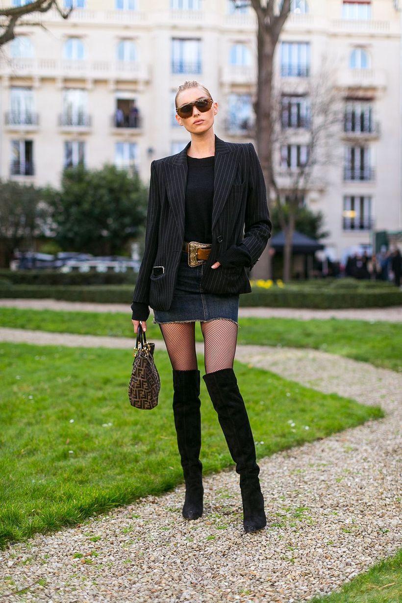 Black-striped-blazer-and-mini-skirt