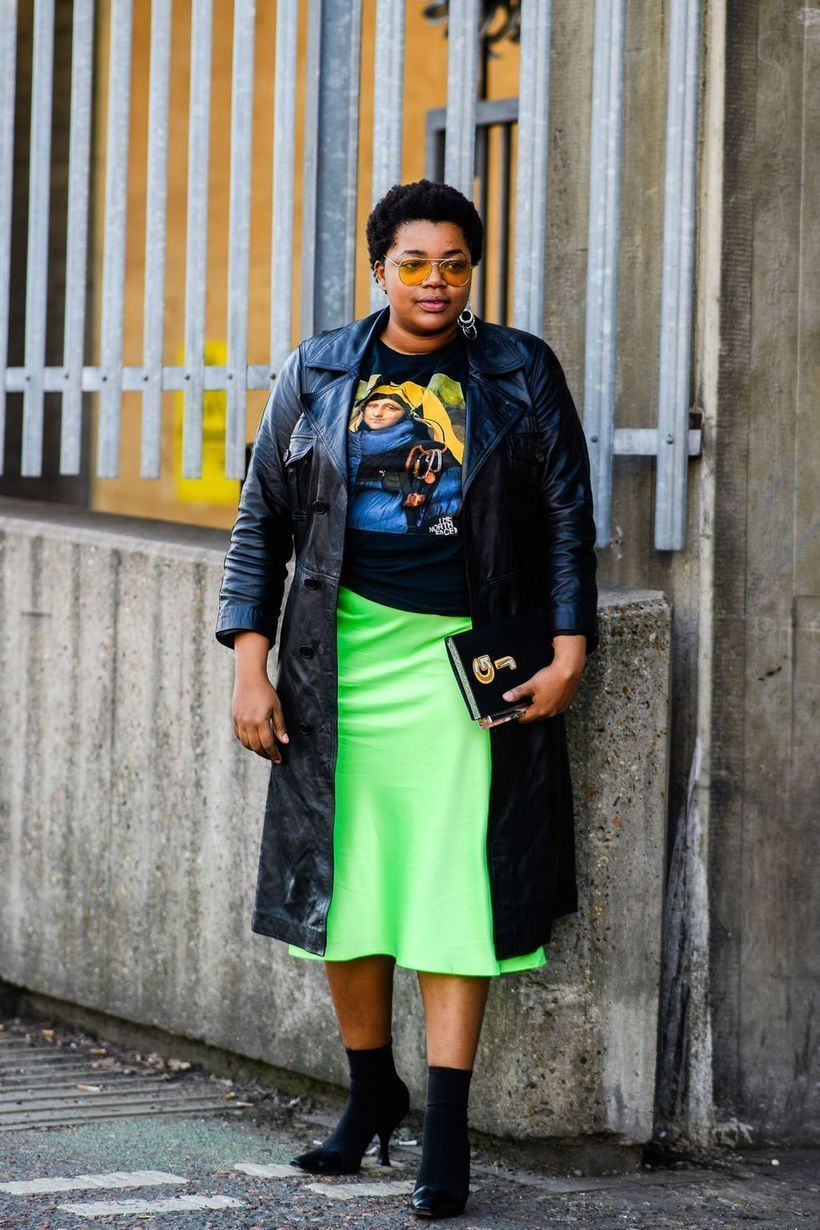 Casual-leather-coat-and-yellow-skirt