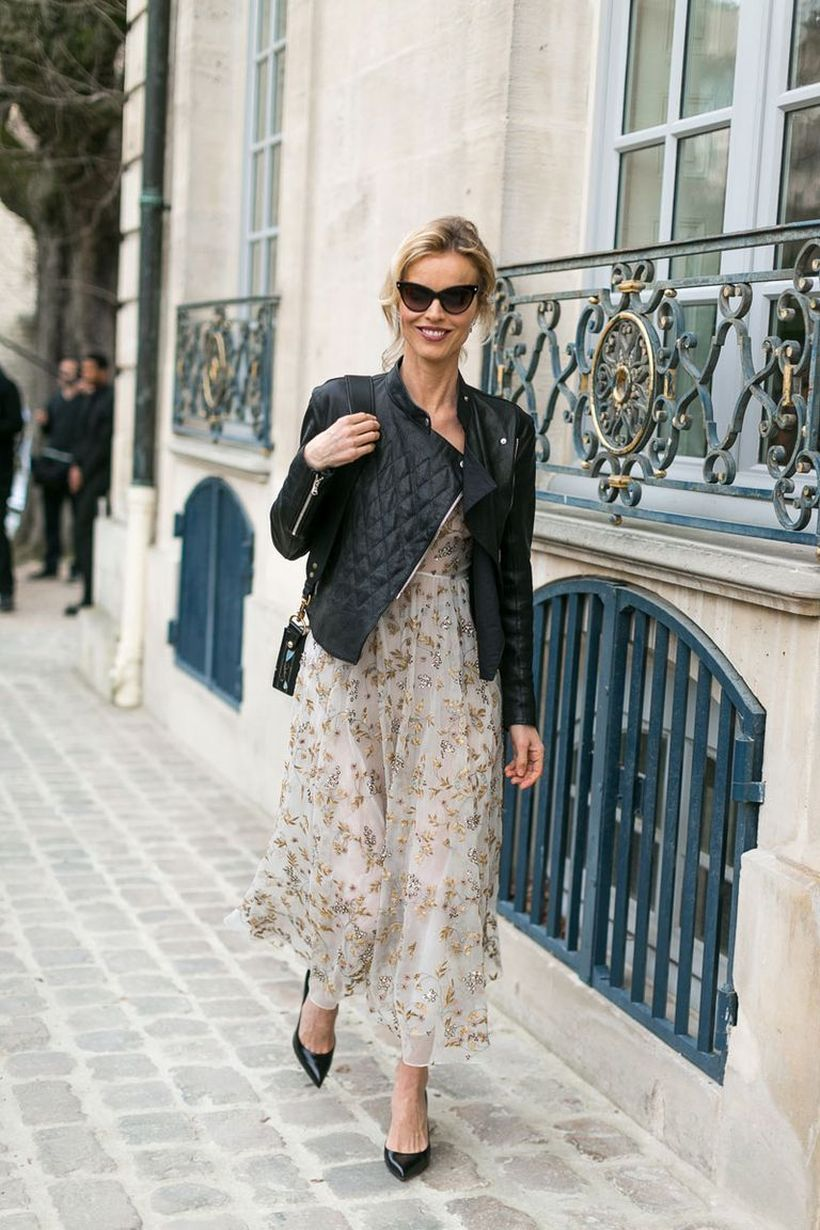 Flower-dress-and-black-jacket
