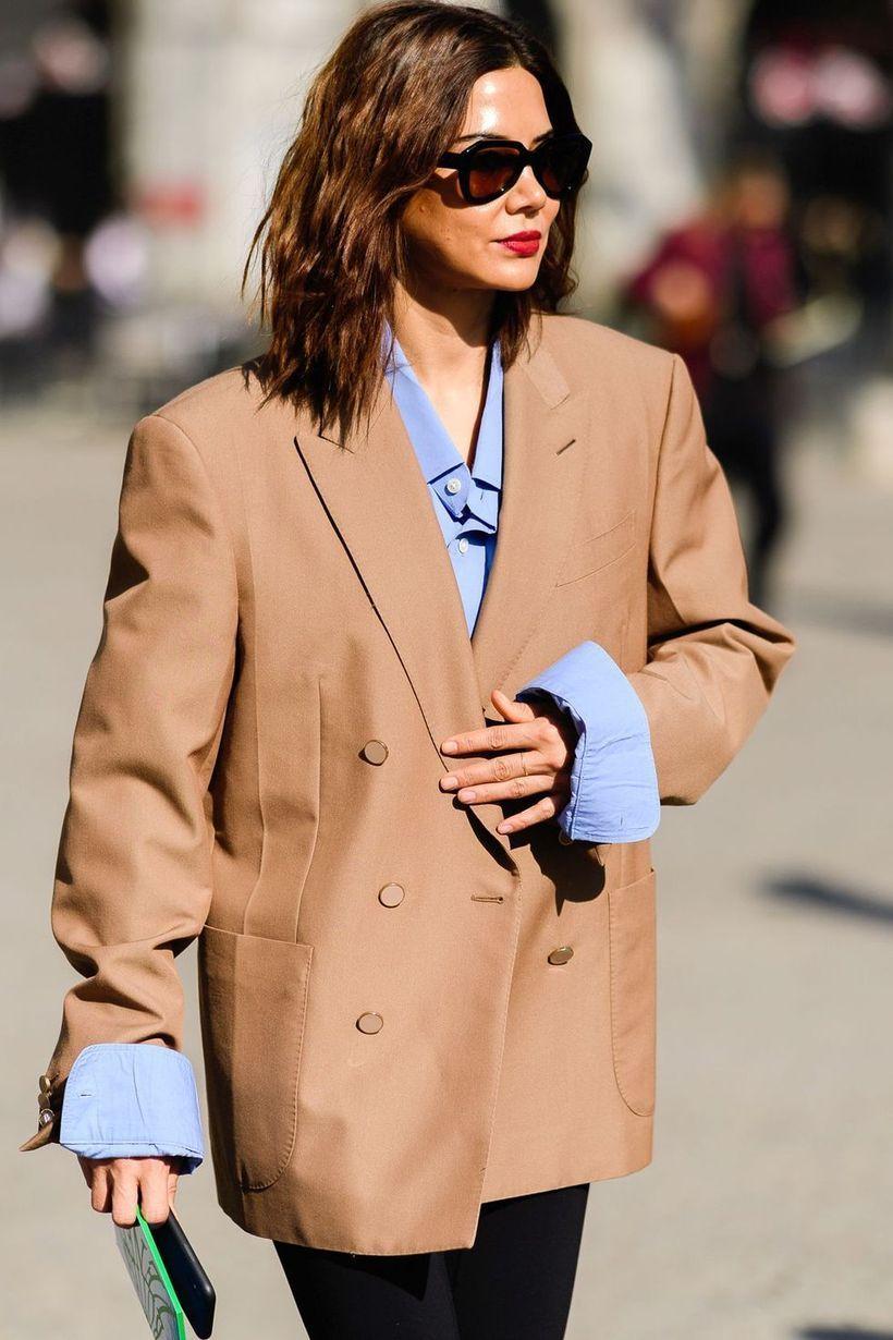 Long-blue-shirt-and-grey-blazer