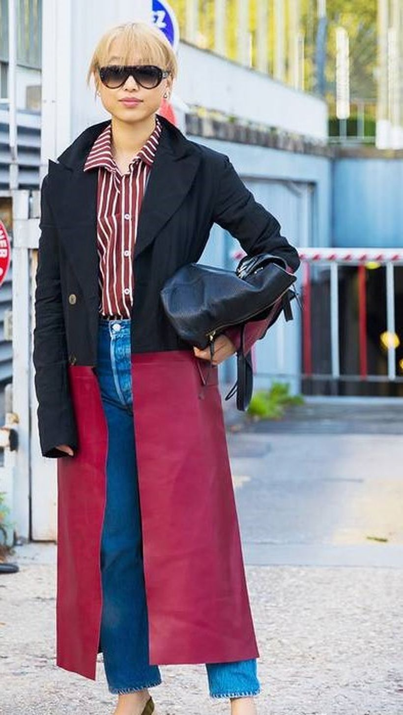 Black-and-red-long-coat-and-striped-shirt