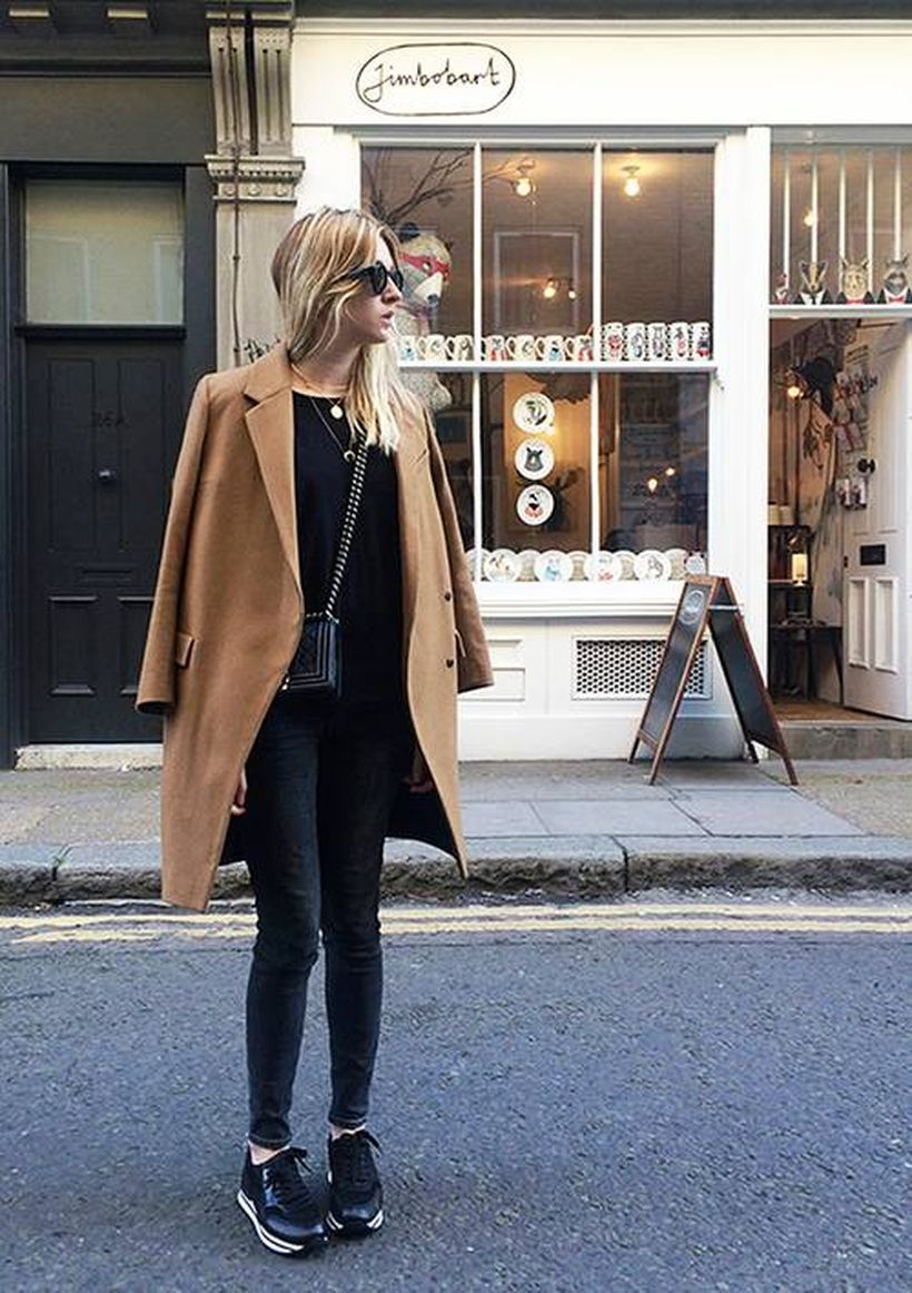 Black-t-shirt-and-beige-coat
