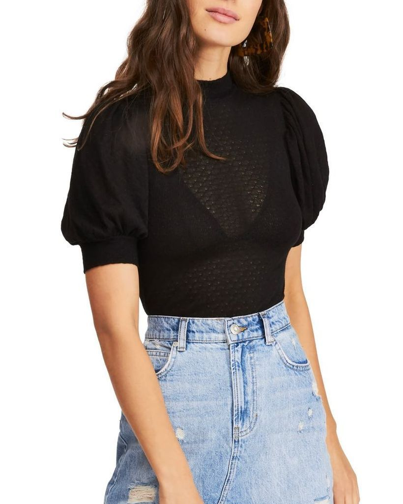 Transparent-black-blouse-with-denim-short