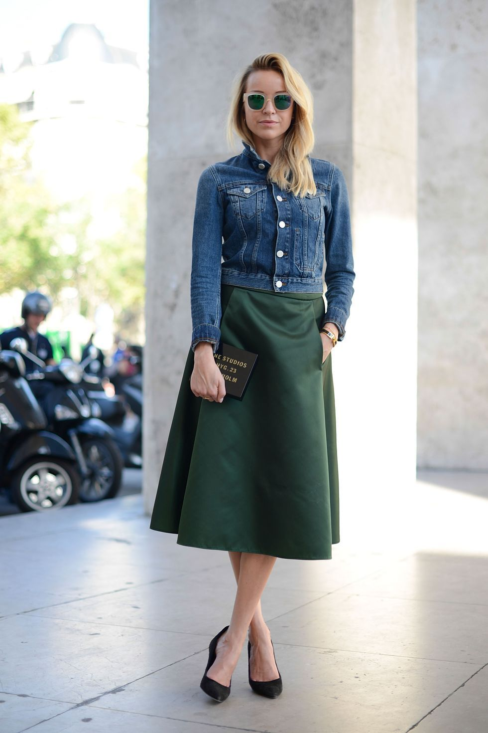 Cool-denim-jacket-for-women-with-dark-green-skirt-and-sunglasses-for-your-style-this-season