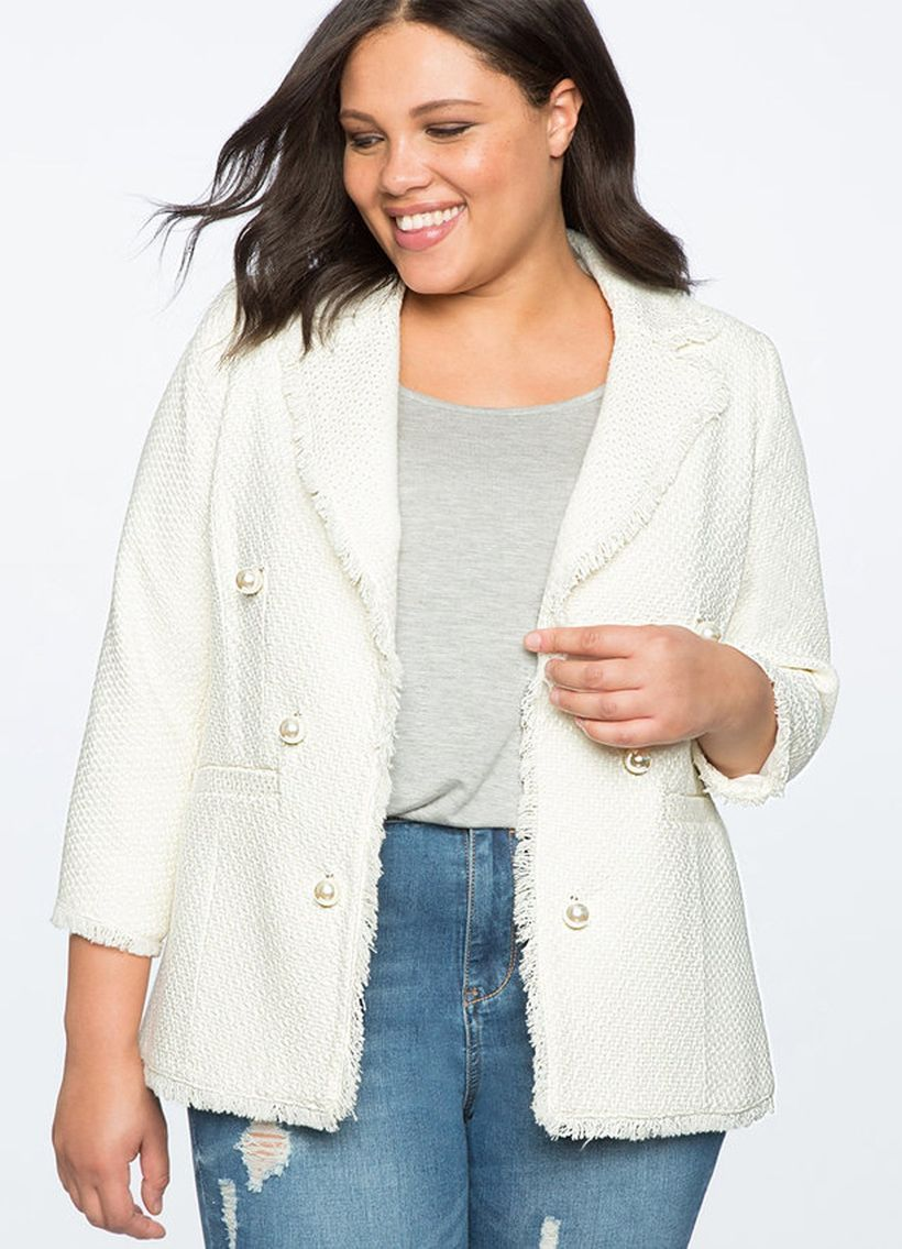 Cute-white-blazer-made-from-tweed-combined-with-a-deep-gray-and-ripped-denim-pant-to-make-it-look-cool-for-your-style-this-season