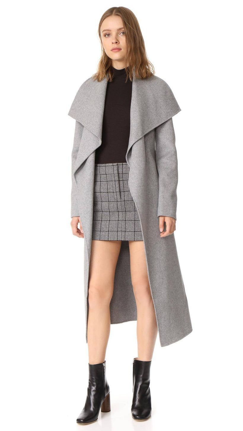 Cute-long-soft-pink-wool-coat-with-black-sweater-and-plaid-mini-skirt-for-your-inspire-clothing-this-season