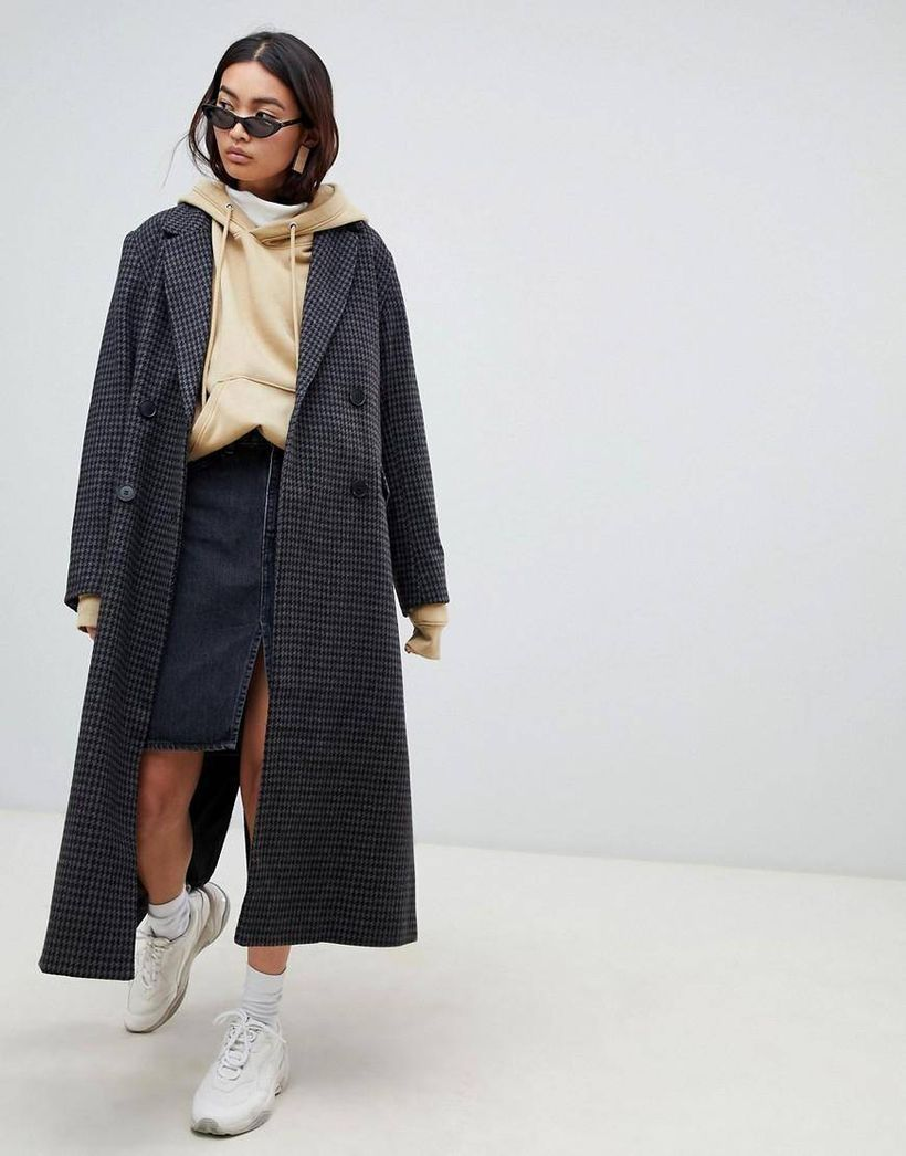 Beige-hoodie-jacket-combined-with-long-plaid-wool-coats-and-denim-skirts-to-make-it-look-cool-using-sneakers-for-your-style