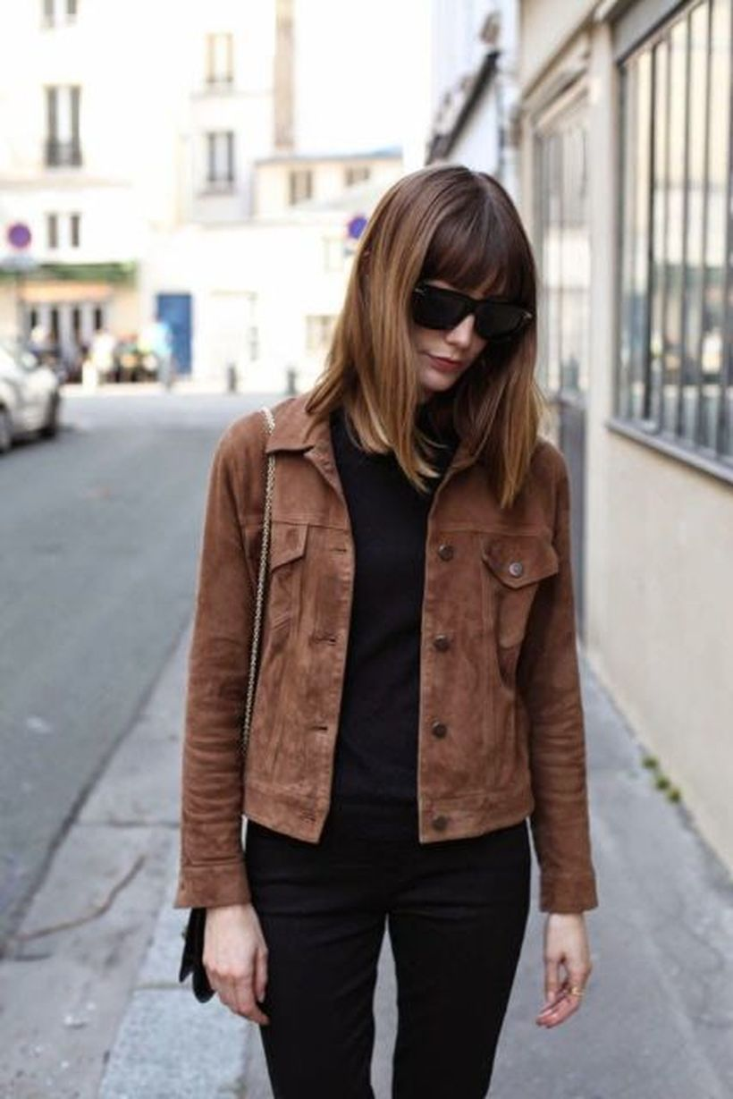 Brown-suede-jacket-with-black-sweater-to-keep-warm