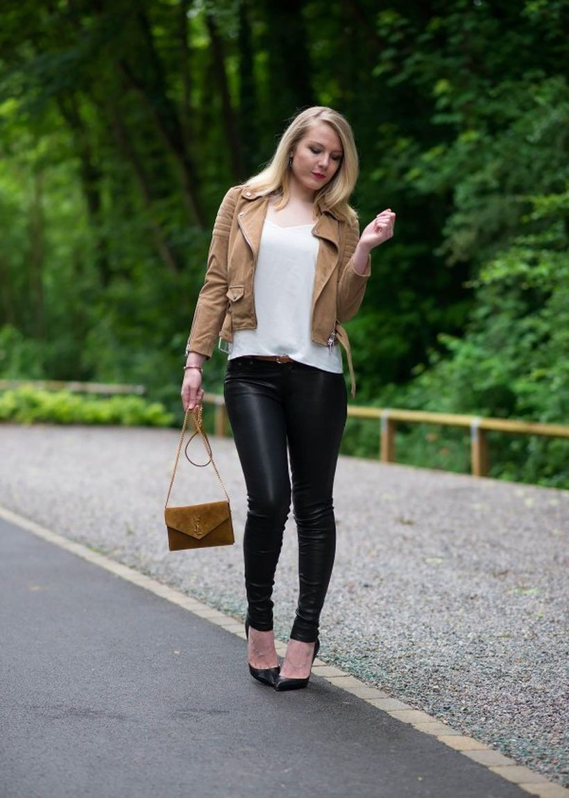 Brown-suede-moto-jacket-with-black-leather-legging