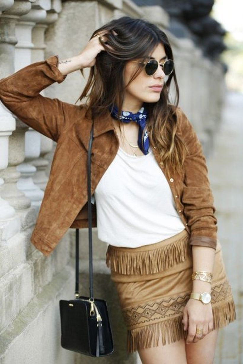 Brown-suede-jacket-with-unique-fringe-mini-skirt