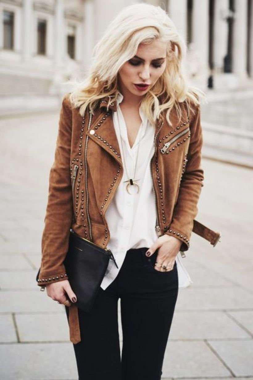 Brown-studded-suede-jacket-and-white-blouse
