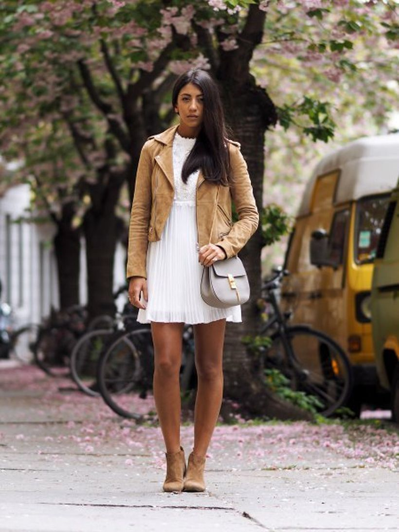 Light-brown-suede-jacket-with-white-pleated-dress
