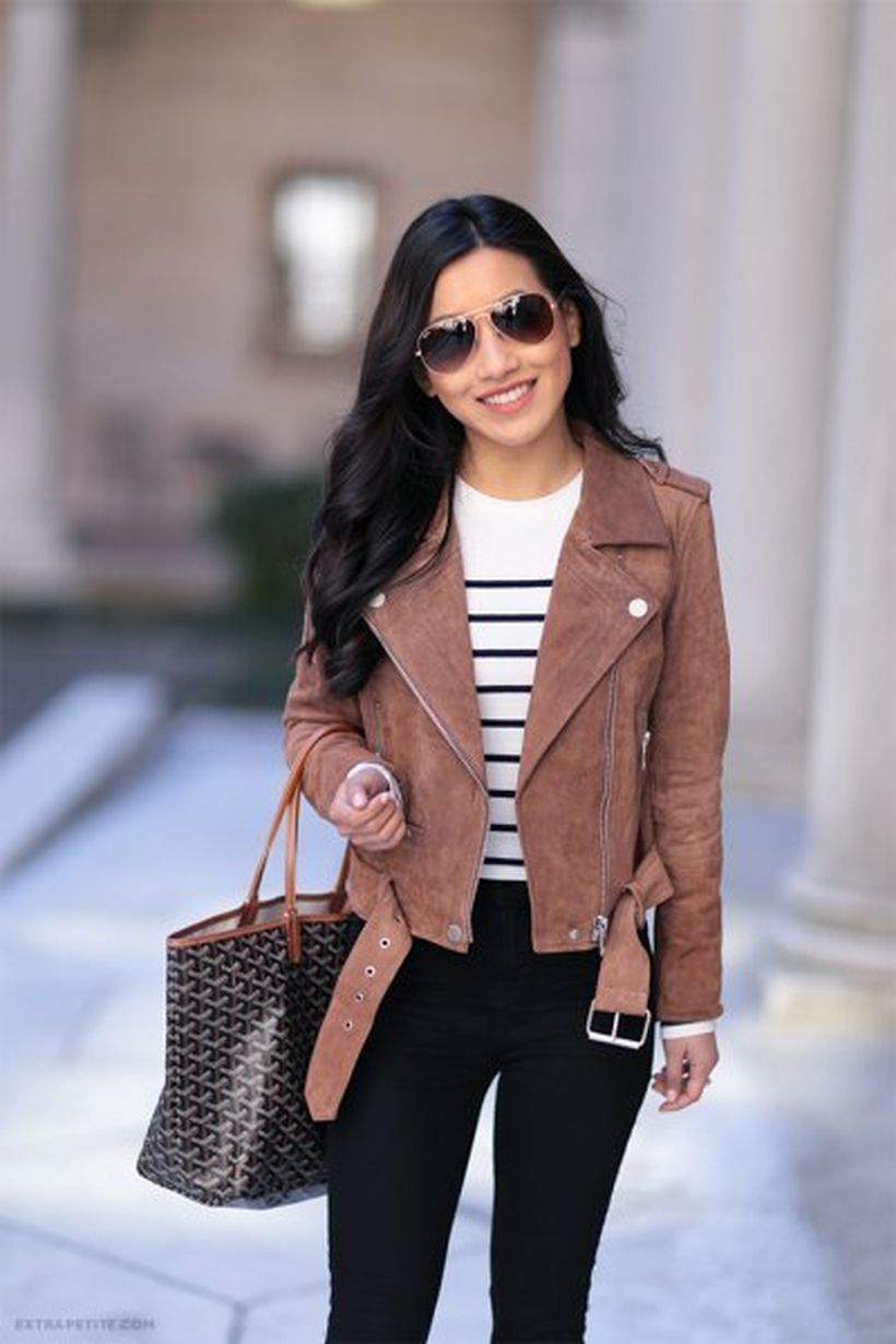 White-and-black-striped-and-brown-suede-jacket