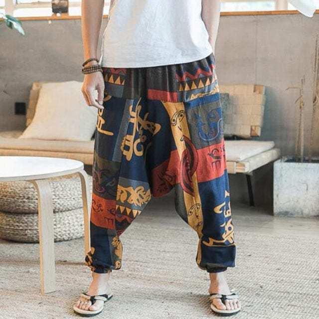 An-elegant-bohemian-trousers-for-men-with-lantern-harem-elastic-waist-red
