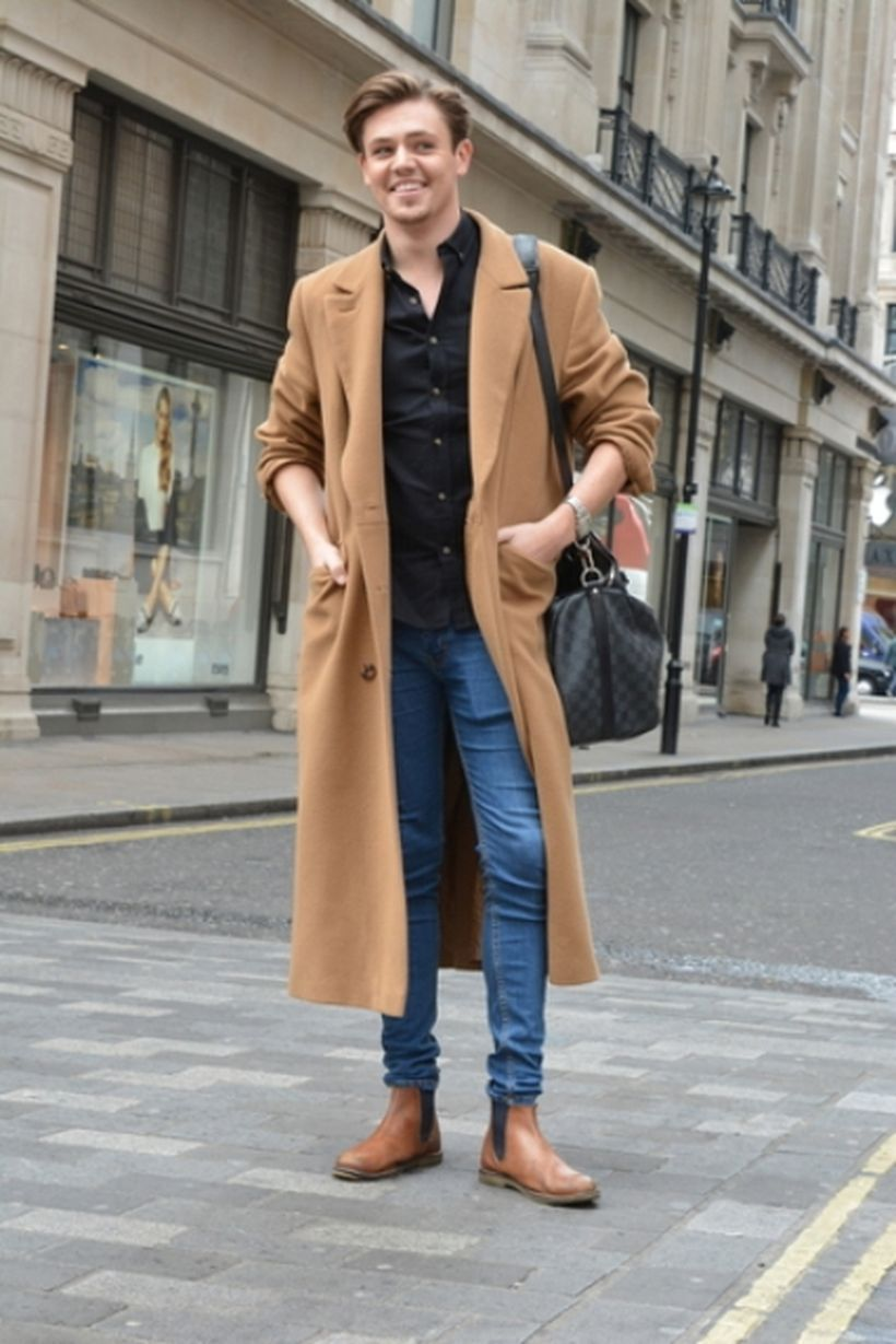 Comfortable-and-warm-outerwear-for-men-with-brown-overcoat-black-shirt-and-blue-jeans-to-look-cool