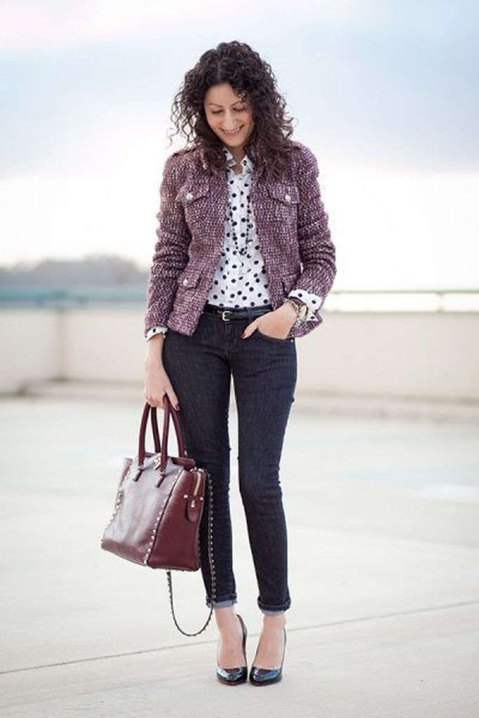 An awesome style outfit ideas with grey tweed jacket combined with white polka dot shirt & jeans to beautify your style