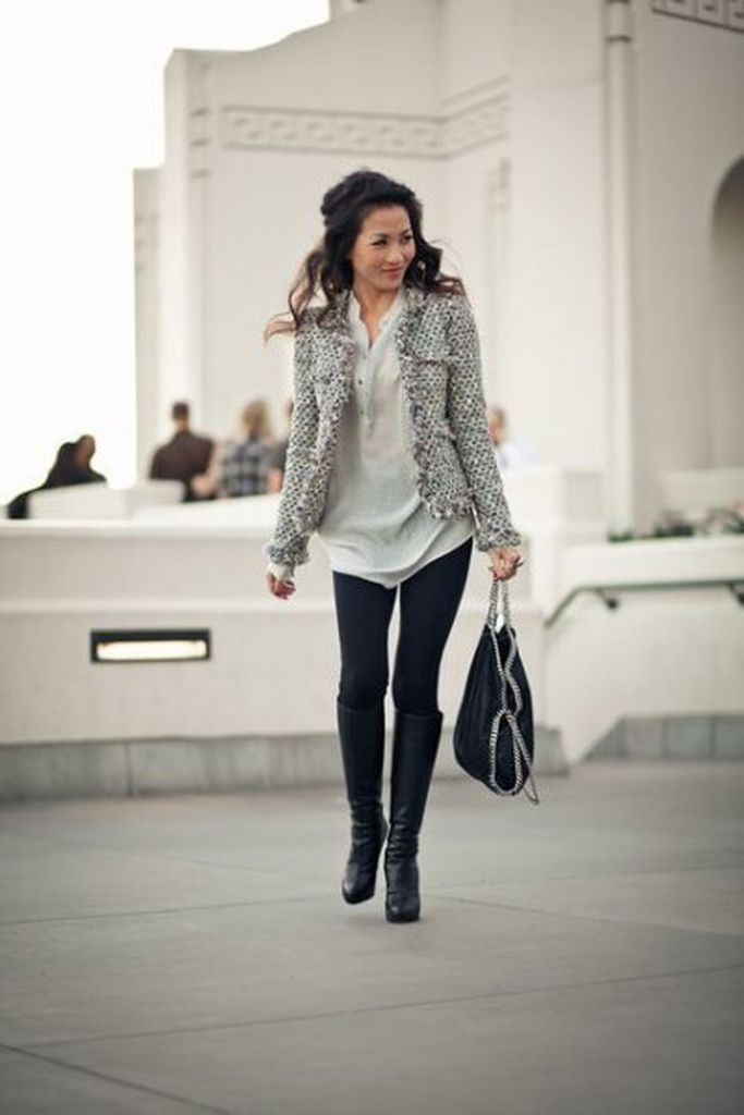 Trendy outfit for women with tweed jacket combined with black leggings & knee-high boots to complete your style