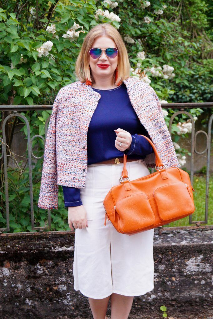 Mesmerizing-women-outfit-ideas-with-tweed-jacket-combined-with-a-white-skirt-to-update-your-style