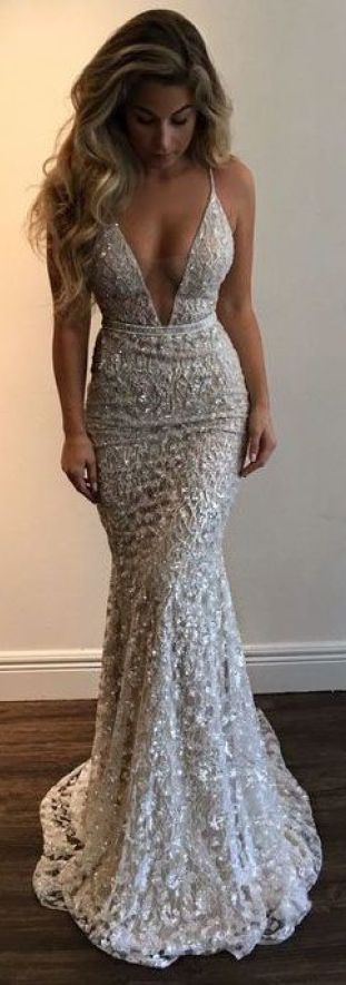 Blingy designs are perfect for mermaid prom dresses!