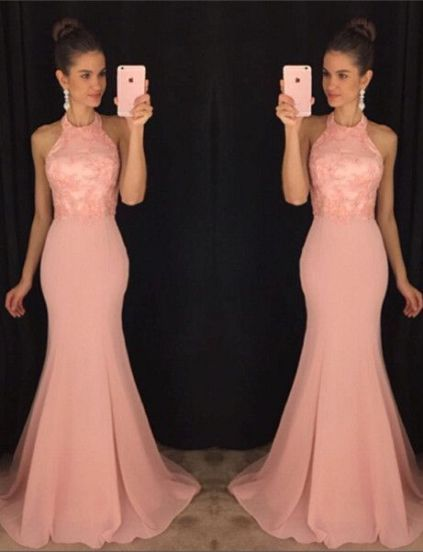 This soft pink is a perfect color for mermaid prom dresses!
