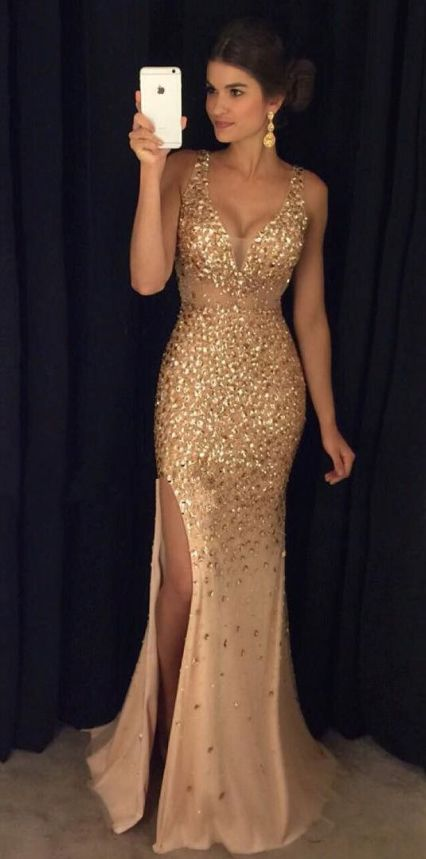 High slits are perfect for mermaid prom dresses!