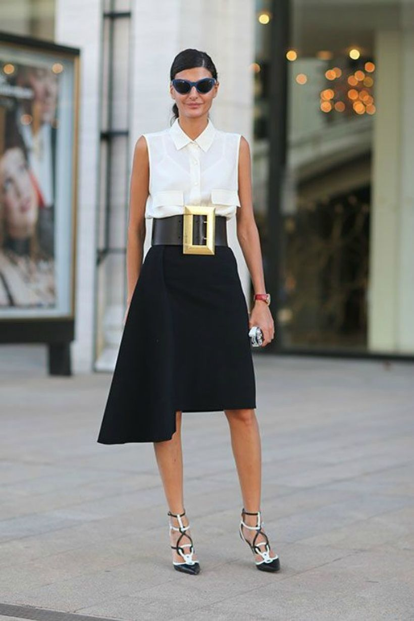 Modern-skirt-and-white-top-with-classic-high-heels.