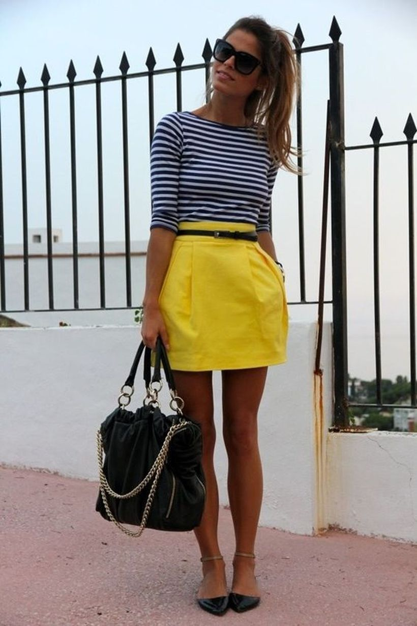 Striped-top-and-yellow-skirt.