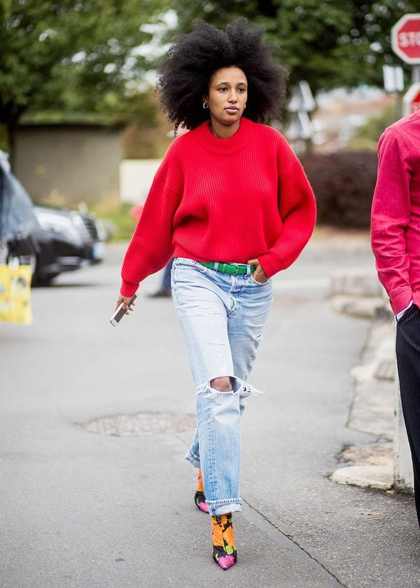 Bold-red-sweater-with-relaxed-jeans.