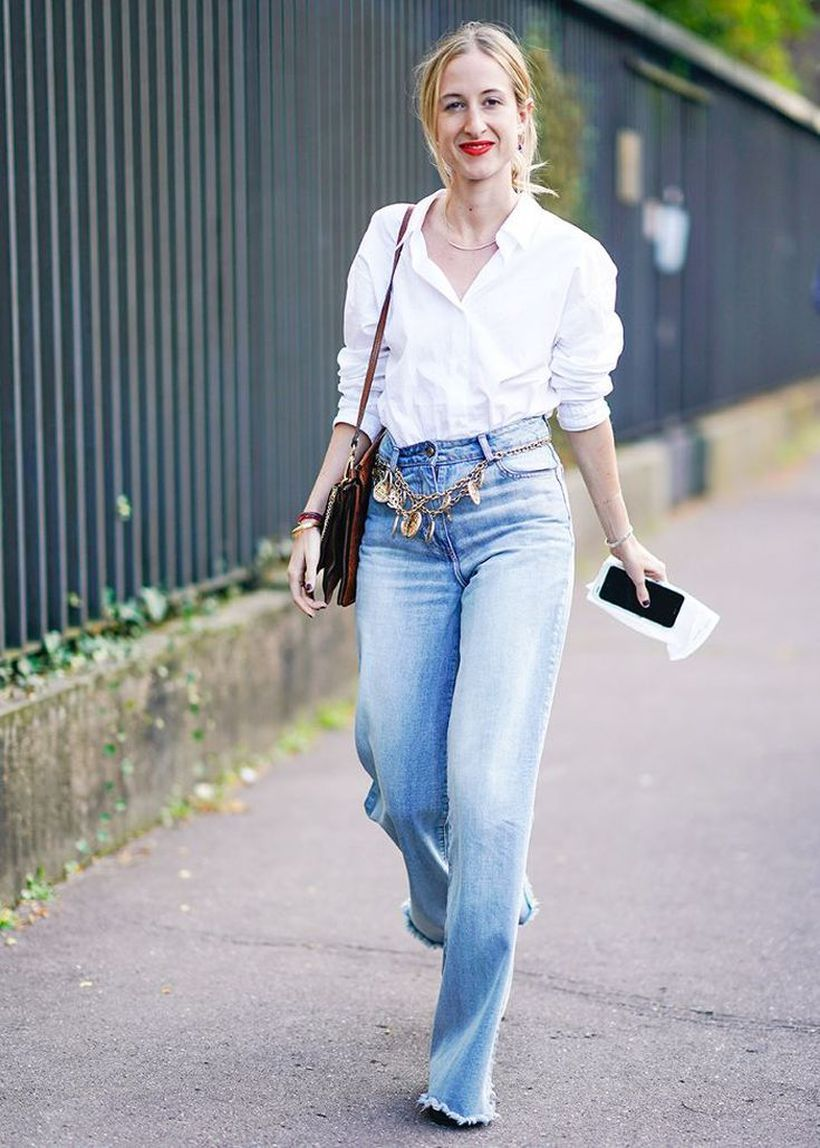 Button-down-with-flare-jeans.