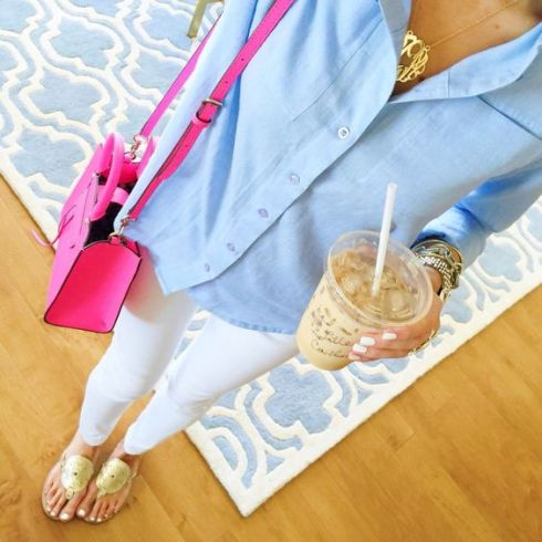 A bright purse is perfect for a preppy outfit!
