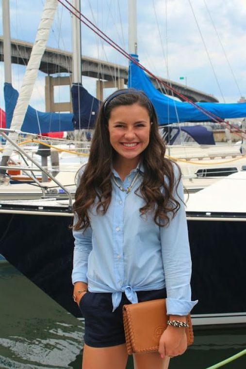 A tied blouse is perfect for a preppy outfit!
