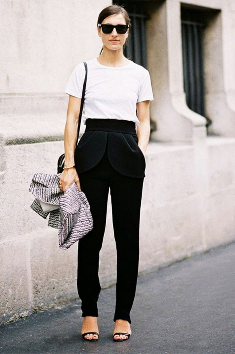 Black-trousers-with-a-white-top.