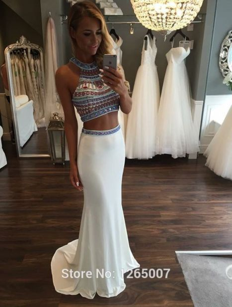 Detailed crop tops are perfect for mermaid prom dresses!