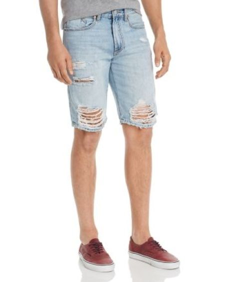 Destroyed Regular Fit Denim Shorts in Happy Place