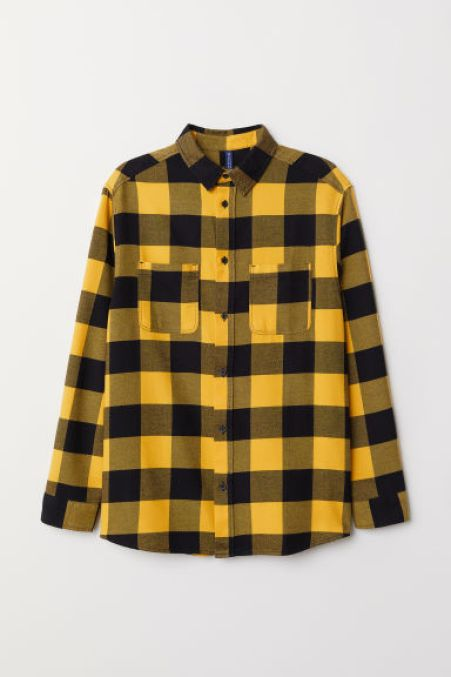 Yellow Cotton Flannel Shirt