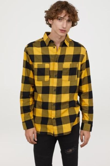 Man Wearing Yellow Flannel Shirt