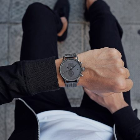 Voyager Monochrome Mesh Watch
