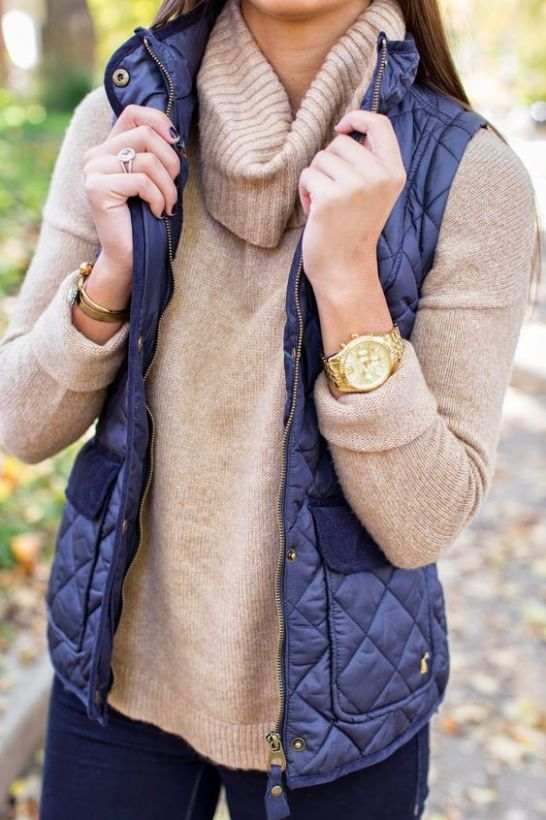 A puffer vest is perfect for a preppy outfit!